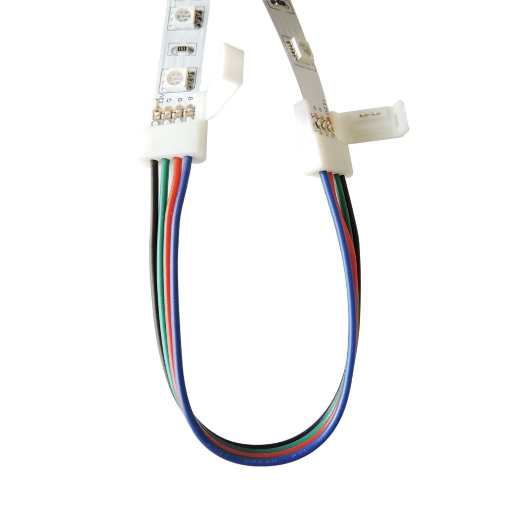 10 Pack AT-4PIN-10MM-RGB AspenTek 10mm Wide RGB LED Strip Light Connector Adapter 4 Pin Connector for 3528 5050 RGB Led Light Strip No Need Welding