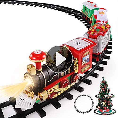 TEMI Christmas Train Toys Set Around Tree, Electric Railway Train Set w/ Locomotive Engine, Cars and Tracks, Battery Operated Play Set w/ Lights and Sounds, Christmas Spirit Gift for Kids Boys Girls (Christmas Tree On Track Train)