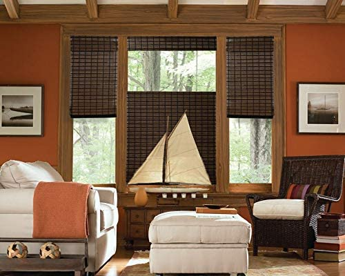 Cordless Top Down Bottom Up Woven Wood Roman Shade