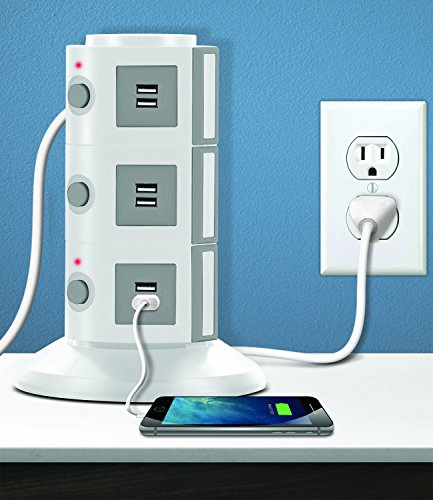 Aduro Surge Protector Power Tower Family Multi Charging Station – 9 Outlets and 6 USB Ports, Smart Charge Technology for iPhone, iPad, Galaxy Nexus White