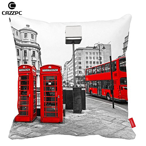 Cazzpc Cushion Cover Black and White London City Styel Retro Red Bus and Telephone Boxes Pattern Print Home Decor Size 45x45cm