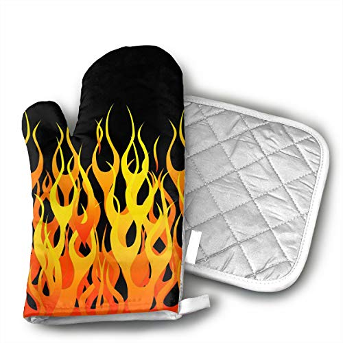 - LALABULU Oven Mitts Classic Hot Rod Racing Flames Non-Slip Silicone Oven Mitts, Extra Long Kitchen Mitts, Heat Resistant to 500Fahrenheit Degrees Kitchen Oven Gloves