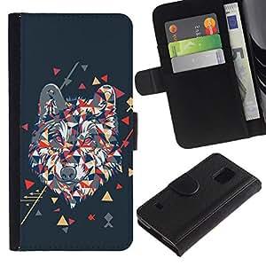 All Phone Most Case / Oferta Especial Cáscara Funda de cuero Monedero Cubierta de proteccion Caso / Wallet Case for Samsung Galaxy S5 V SM-G900 // Cool Polygon Triangle Wolf Hipster