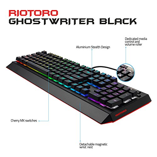 RIOTORO Ghostwriter Cherry MX Black Mechanical Keyboard with Customizable Prism RGB, 1ms Response Time, NKRO, and Dual USB Ports. Includes 2 Magnetic Detachable Wrist Rest by RIOTORO