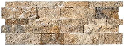 Scabos Travertine Splitface Stacked Ledger Wall Panel 7 in. x 20 in. Natural Stone Tile