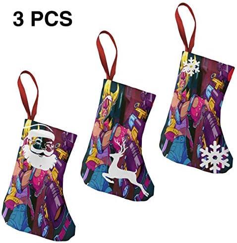 クリスマスの日の靴下 (ソックス3個)クリスマスデコレーションソックス アニメ女ガンマン クリスマス、ハロウィン 家庭用、ショッピングモール用、お祝いの雰囲気を加える 人気を高める、販売、プロモーション、年次式