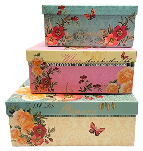 Alef Elegant Decorative Themed Nesting Gift Boxes -3 Boxes- Nesting Boxes Beautifully Themed and Decorated - Perfect for Gifts or Simple Decoration Around the House! (Yellow Flowers) ()