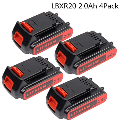 4Pack 2.0Ah 20V 40Wh Lithium-Ion Replacement Battery for Black & Decker LBXR20 LBXR20-OPE LB20 LBX20 LBX4020 LB2X4020-OPE Cordless Power Tools