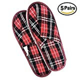 Union Power 5 Pair Unisex Non-slip Hotel Travel slippers, Spa Disposable Slippers, Airline Slippers, Closed Toe Home Guest Slippers for Women and Men (Red)