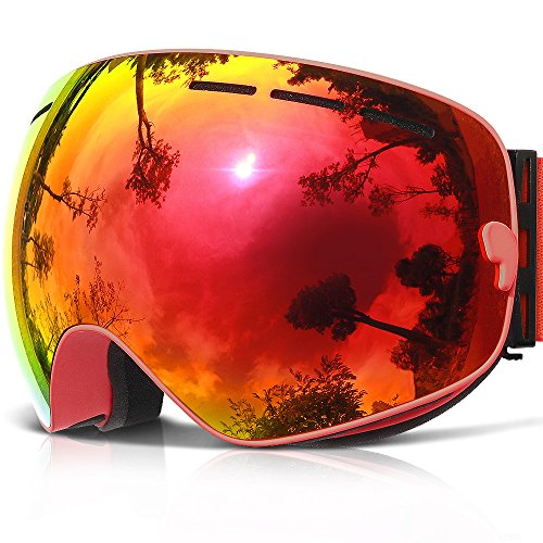 Womens Ski Snowboard Goggles - COPOZZ Ski Goggles, G1 Mens Womens Ski Snowboard Snowboarding Goggles - Over Glasses Double Lens Anti Fog Frameless,Cool REVO Mirror Red For Men Women Youth Snowmobile Skiing