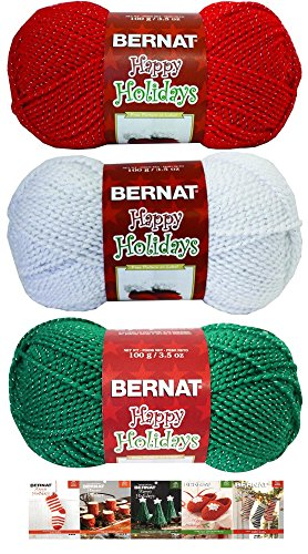 Bernat Happy Holidays Yarn 3 Pack Bundle with 5 Patterns Acrylic Medium Worsted Red White Green