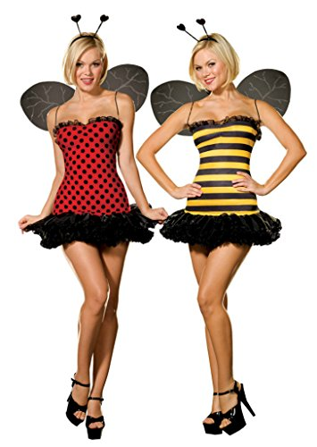 Adult Bumblebee Gloves (Dreamgirl Womens Buggin Out Reversible Bumblebee Ladybug Dress Sexy Costume, M (6-10))