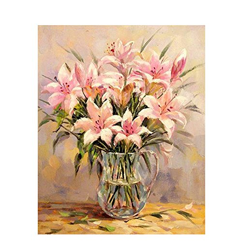 Paint by Numbers Kits DIY Digital Oil Painting Coloring on Canvas Hand Painted Painting for Painting Lovers - A Bottle of Pink Lily Flower 16x20 inch with Brushes and Pigment,Frameless