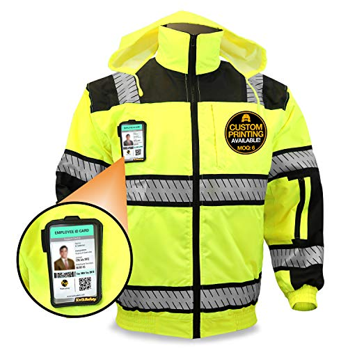 KwikSafety (Charlotte, NC) ENFORCER | Class 3 Safety Bomber Jacket | High Visibility ANSI Compliant OSHA | Detachable Chest iPocket Foldable Hoodie Thermal Lining Construction Work Wear | XX-Large
