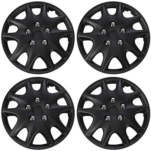 Hubcaps 14 inch Wheel Covers - (Set of 4) Hub Caps for 14in Wheels Rim Cover - Car Accessories Black Hubcap Best for 14inch Cars Standard Steel Rims - Snap On Auto Tire Replacement Exterior Cap