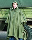 Men's US Waterproof Ripstop Hooded Nylon Festival Poncho in Olive Green