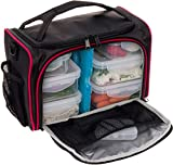 "Meal Prep Bag by LISH - Insulated Lunch Box w/ 6 BPA Free Snap-Lock Portion Control Containers, Reusable Ice Pack, Daily Vitamin Organizer & 26"" Soft Shoulder Strap (Black & Red)"