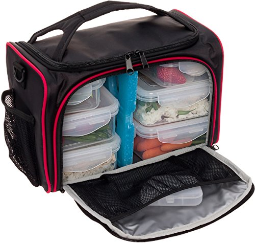 Meal Prep Bag by LISH - Insulated Lunch Box w/ 6 BPA Free Snap-Lock Portion Control Containers, Reusable Ice Pack, Daily Vitamin Organizer & 26 Inch Soft Shoulder Strap (Black & Red)