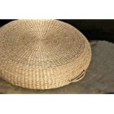 LB Japanese Style Handcrafted Eco-friendly Breathable Padded Knitted Straw Flat Seat Cushion, Thick Hand Woven Tatami Floor Cushion Corn Maize Husk,Round 50X50X10 CM