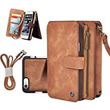 """Cornmi iPhone 6s Case 2-in-1 Multifunctional Leather Zipper Shock-absorption Wallet Detachable Flip Cover Coin Purse 14 Card Slots Stand Shell for iPhone 6 4.7"""" Brown"""