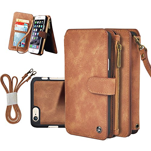 "Price comparison product image Iphone 6/6s plus Wallet Case, 5.5"" CORNMI Outdoor Sport Detachable Leather Flip Case Folio Stand Coin Purse Card Slot Pocket Wallet for Iphone 6/6s Plus (Brown)"
