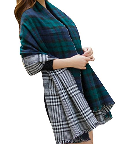 BeAllure Women's Plaid Shawl Wrap Tartan Large Soft Blanket Scarf Cardigan Poncho Capes Reversible Tassels Fringe,Green Black