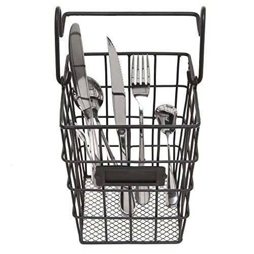 Modular black metal mesh wire hanging kitchen dining import it all for Hanging baskets for bathroom storage