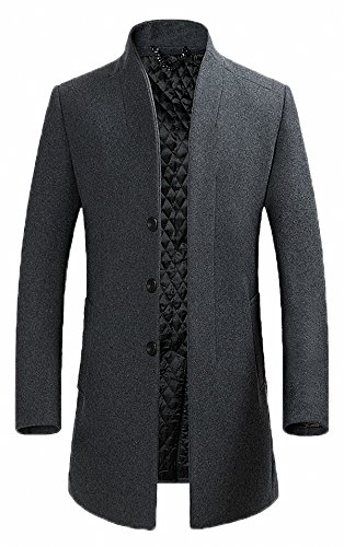 FASHINTY Men's Classical France Style Stand Collar Warm Wool Coat #00001W Gray M