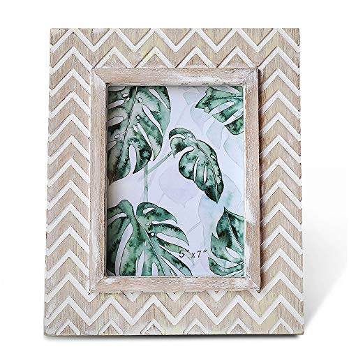 BOLUO Moroccan Picture Frames Rustic 5x7 Distressed White Chevron Herringbone Photo Frame Indian Carved Wood (Rustic Carved Wood)