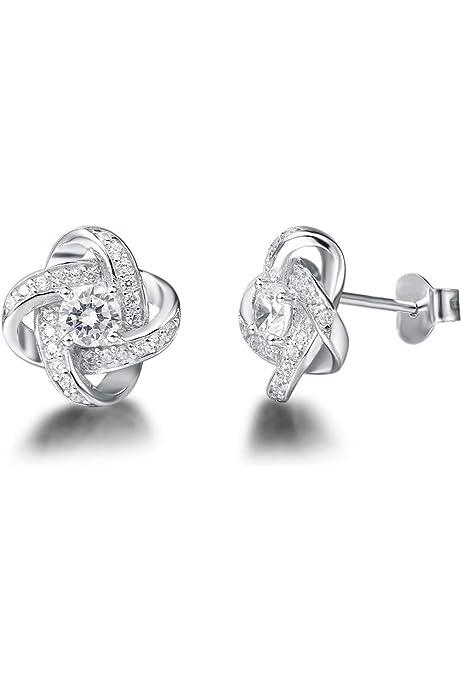 Silver INTERWOVEN KNOT Set Stud Earrings