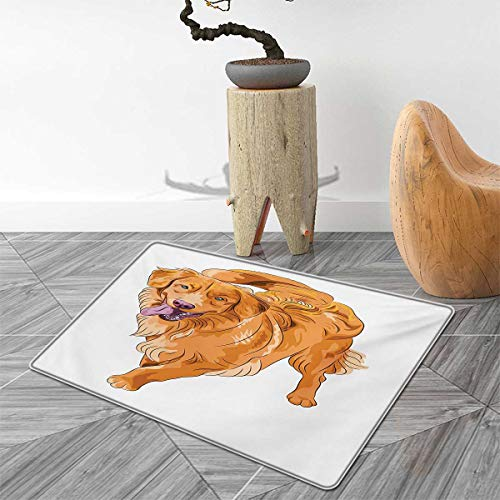 Golden Retriever Door Mat Outside Playful Dog Running with a Smiling Face Best Friend and Companion Bathroom Mat for tub Non Slip 4'x5' Orange Violet White 4' Golden Retriever Face