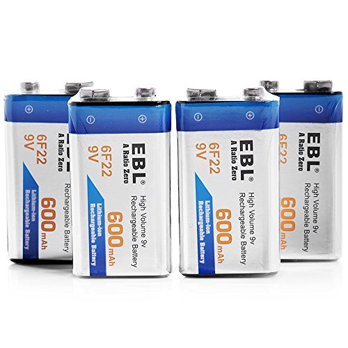 EBL 4 Pack 9V 6F22 600mAh High Volume Lithium-ion Rechargeable 9 Volt Li-ion Batteries