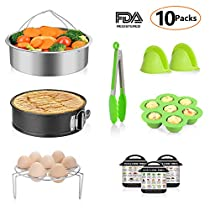10Pcs Cooking Accessories Set Compatible with Instant Pot 5,6,8Qt - Steamer Basket, Non-Stick Springform Pan, Egg/Steamer Rack, Egg Bites Mold, Silicone Oven Mitts, Magnetic Cheat Sheet by MIBOTE
