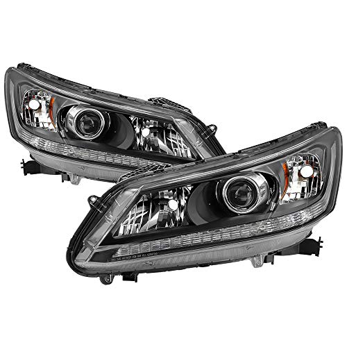 Jdragon for For Honda 13-15 Accord 4dr Sedan Black Housing Replacement Headlights EX EX-L LX (Accord 2013 4dr Body Honda Kit)