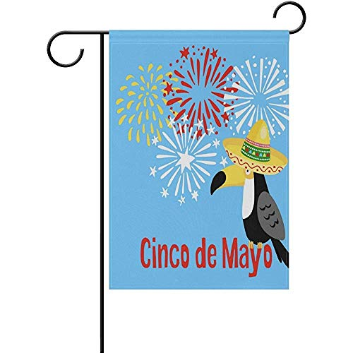 HUVATT Mexican Cinco De Mayo Greeting Seasonal Garden Flag Double Sided Home Decorative Outdoors Wedding 12 x 18 inch