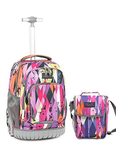 Tilami Tilami New Antifouling Design(Ship from USA) 18 Inch Wheeled Rolling Backpack Luggage & Lunch Bagg(Purple Stripes) price tips cheap