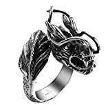 Men Dragon Ring Band Style Stainless Steel Punk Jewelry Hip Hop Rock