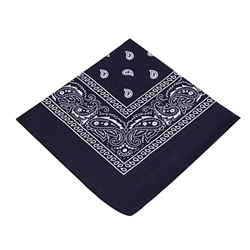 BOOLAVARD 1s, 6s, 9s or 12 Pack Cowboy Bandanas with Original Paisley Pattern (Navy) ()