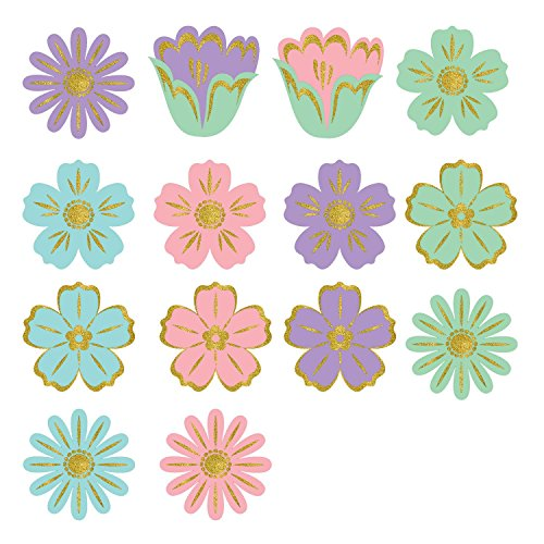 Amscan Party Supplies, Easter Flower Mini Glitter Cut Out Party Decorations, 2 1/2