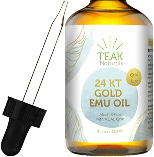 24K GOLD Emu Oil by Teak Naturals, 24 K Gold Organic Australian Emu Oil 4 oz Gold Line Series