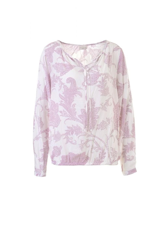 Milano Italy Damen Bluse Shirt mit Allover-Print weiß rosa langarm