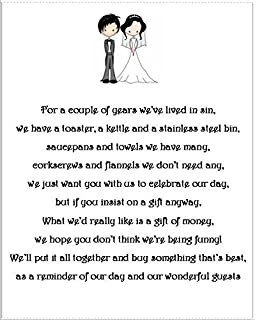 50 Small Wedding Evening Gift Poem Cards asking for Money Bride /& Groom 1