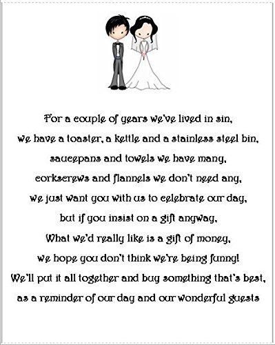 Wedding Money Gift Request Poem Cards For Wedding Invitations