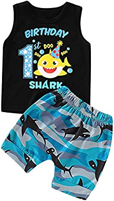 Detigee Boys First Birthday Shark Outfits Baby One Year Old Birthday Clothes