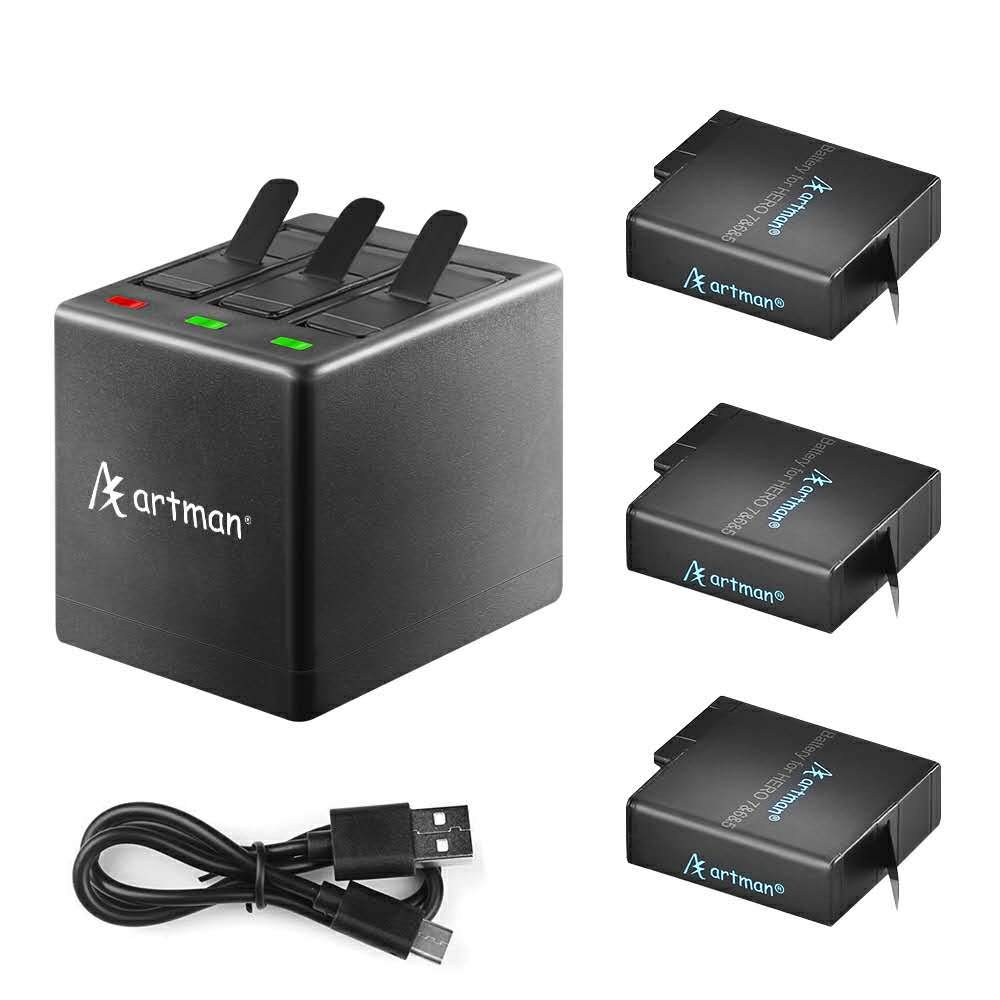 Artman GoPro Hero 5/6/7/8 1480mah Replacement Batteries (3-Pack) and 3-Channel LED USB Charger with Type-C Port for Gopro Hero 8 Black,GoPro Hero 7 Black,Gopro Hero 5/6,Hero 2018 by A Artman