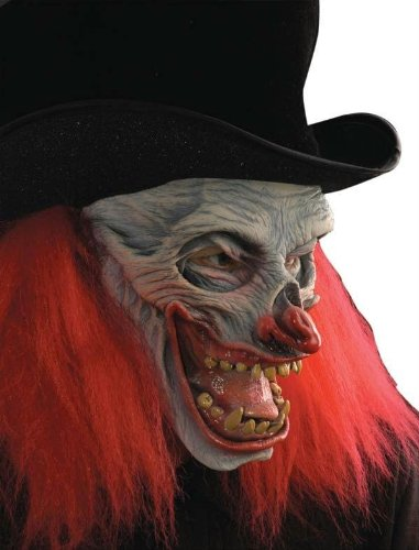 Zagone Now That's Funny Clown Mask, Black Top Hat, Red Hair