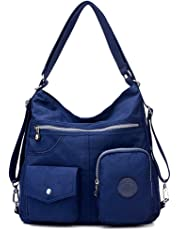 Casual Crossbody Bags for Women Waterproof Canvas Hobo Shoulder Handbags Lightweight Convertible Backpack