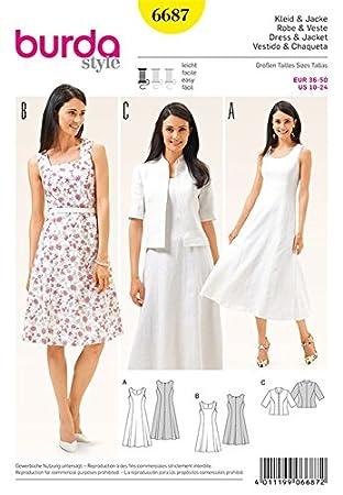 Burda b6687 Schnittmuster Kleid und Jacke Papier weiß 19 x 13 x 1 cm ...