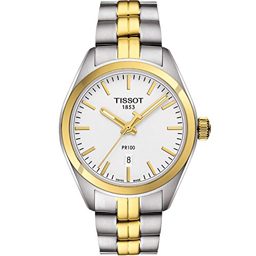 Tissot PR 100 Silver Dial Two-Tone SS Quartz Ladies Watch T1012102203100