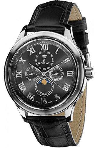 Louis XVI Men's-Watch Élysée le Grand l'argent gris Swiss Made Moonphase Analog Quartz Leather Grey ()